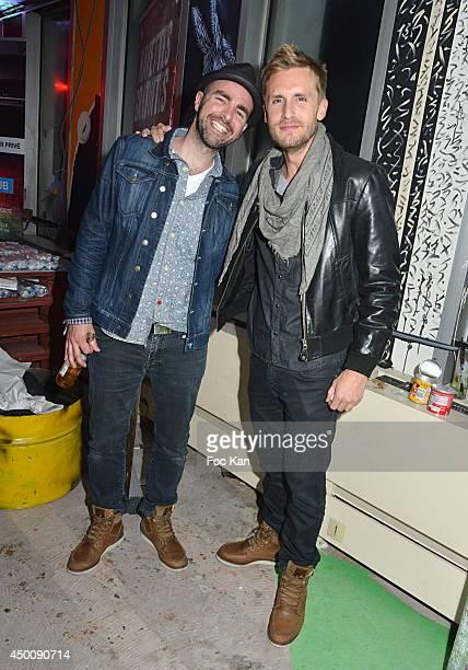 Comedian Julien Arruti and director Philippe Lacheau attend the 'Desperados Wild Club Party' At The 25eme Etage Ephemeral Bar Tour Pleyel Saint Denis...