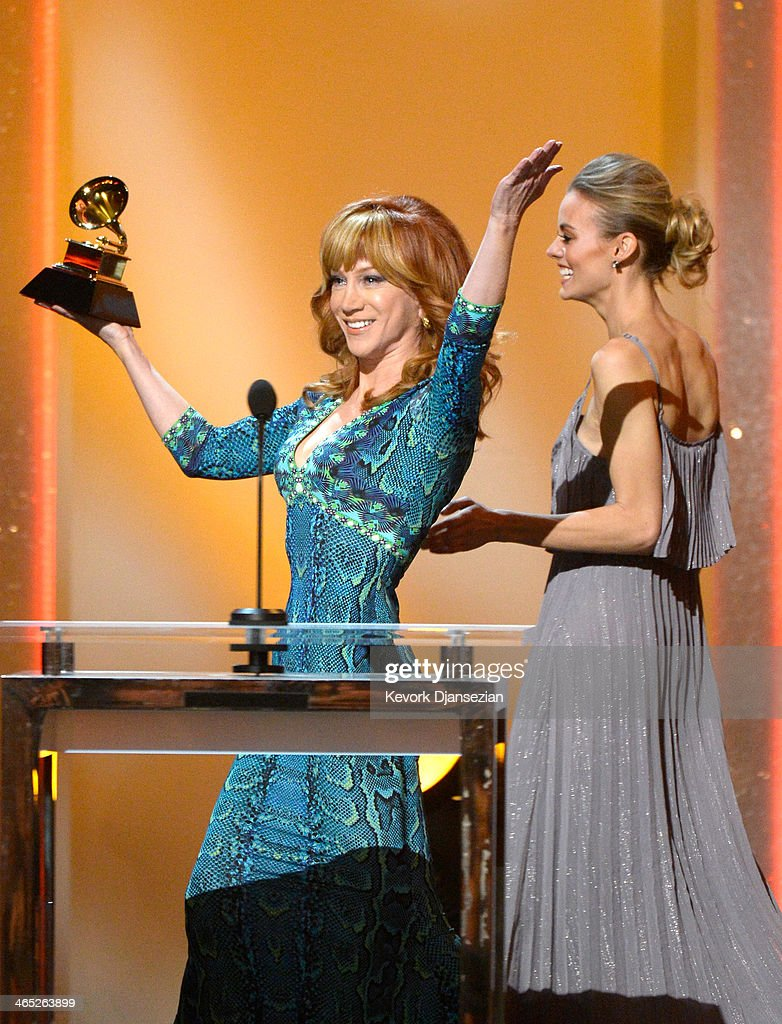 Comedian Kathy Griffin accepts the Best Comedy Album award for 'Calm Down Gurrl' onstage during the 56th GRAMMY Awards Pre-Telecast Show at Nokia Theatre L.A. Live on January 26, 2014 in Los Angeles, California.