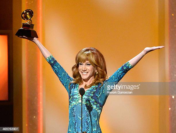 Comedian Kathy Griffin accepts the Best Comedy Album award for 'Calm Down Gurrl' onstage during the 56th GRAMMY Awards PreTelecast Show at Nokia...