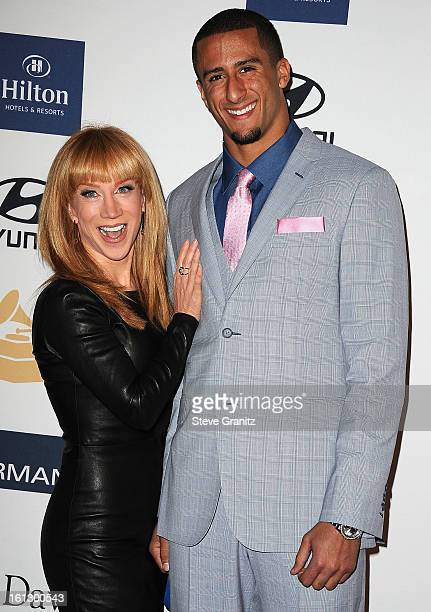 Comedian Kathy Griffin and NFL player Colin Kaepernick arrives at the 55th Annual GRAMMY Awards PreGRAMMY Gala and Salute to Industry Icons honoring...