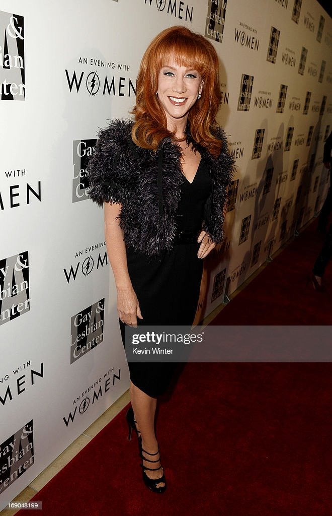 Comedian <a gi-track='captionPersonalityLinkClicked' href=/galleries/search?phrase=Kathy+Griffin&family=editorial&specificpeople=203161 ng-click='$event.stopPropagation()'>Kathy Griffin</a> arrives at An Evening With Women benefiting The L.A. Gay & Lesbian Center at the Beverly Hilton Hotel on May 18, 2013 in Beverly Hills, California.