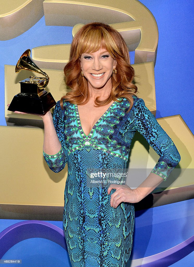 Comedian <a gi-track='captionPersonalityLinkClicked' href=/galleries/search?phrase=Kathy+Griffin&family=editorial&specificpeople=203161 ng-click='$event.stopPropagation()'>Kathy Griffin</a> attends the 56th GRAMMY Awards Pre-Telecast at Nokia Theatre L.A. Live on January 26, 2014 in Los Angeles, California.