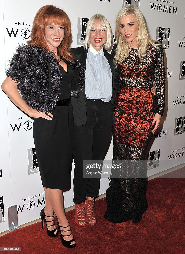 Comedian <a gi-track='captionPersonalityLinkClicked' href=/galleries/search?phrase=Kathy+Griffin&family=editorial&specificpeople=203161 ng-click='$event.stopPropagation()'>Kathy Griffin</a>, musician Sia and musician Natasha Bedingfield arrive at the L.A. Gay & Lesbian Center's 2013 'An Evening With Women' Gala at The Beverly Hilton Hotel on May 18, 2013 in Beverly Hills, California.