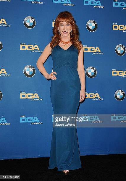 Comedian Kathy Griffin poses in the press room at the 68th annual Directors Guild of America Awards at the Hyatt Regency Century Plaza on February 6...