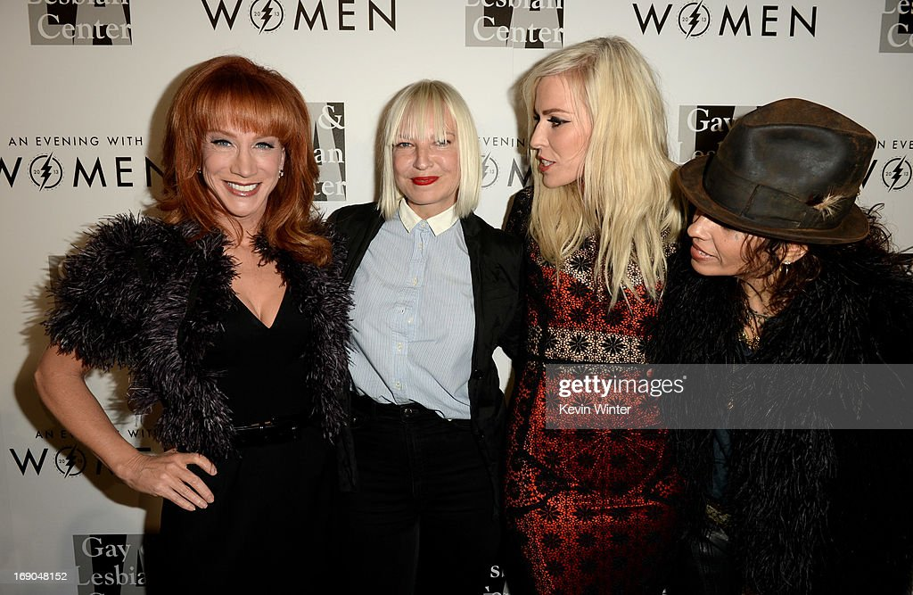 Comedian Kathy Griffin, singers Sia, Natasha Bedingfield and producer/musician Linda Perry arrive at An Evening With Women benefiting The L.A. Gay & Lesbian Center at the Beverly Hilton Hotel on May 18, 2013 in Beverly Hills, California.