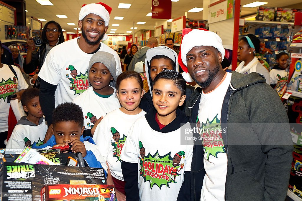 Comedian Kevin Hart and Chris Paul of the Los Angeles Clippers attend Chris Paul and Kevin Hart's 2nd Annual Holiday Takeover at Target on December...