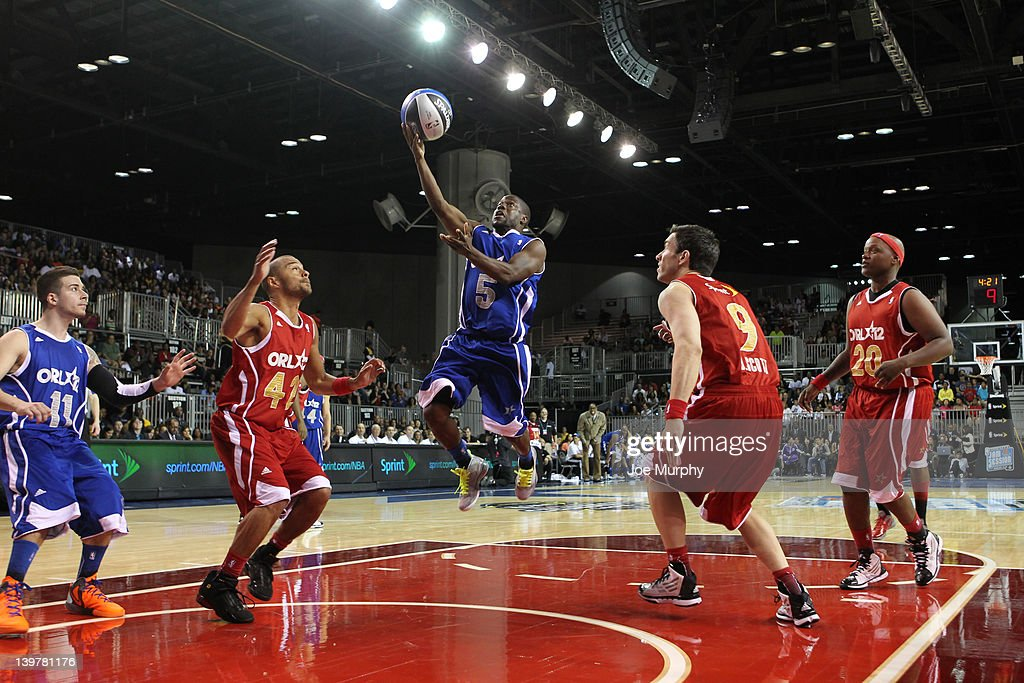 Comedian Kevin Hart of the East team shoots the ball against the West team during the NBA All-Star Weekend on February 24, 2012 at the Orange County Convention Center in Orlando, Florida.