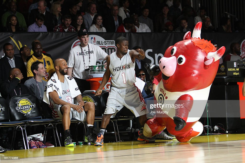 Comedian Kevin Hart of the West team interacts with Benny the Bull Mascot of the Chicago Bulls during the Sprint NBA All-Star Celebrity Game in Sprint Arena at Jam Session during the NBA All-Star Weekend on February 15, 2013 at the George R. Brown Convention Center in Houston, Texas.