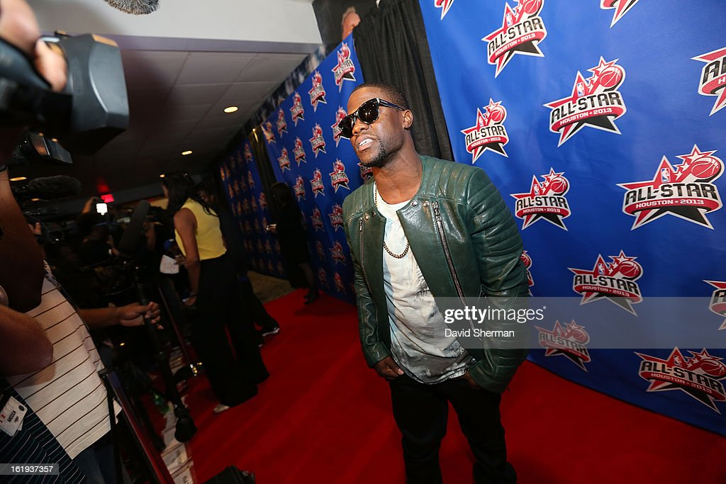 Comedian Kevin Hart poses on the All-Star Red Carpet prior to the 2013 NBA All-Star Game presented by Kia Motors on February 17, 2013 at the Toyota Center in Houston, Texas.