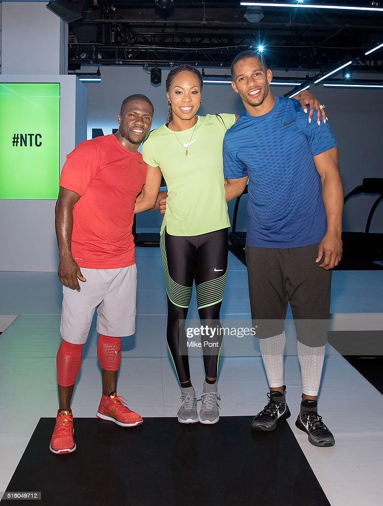 Comedian Kevin Hart, Sanya Richards-Ross, and Football player Victor Cruz attend the Nike+ Live Training and Running Experience at Skylight at Clarkson Sq on March 16, 2016 in New York City.