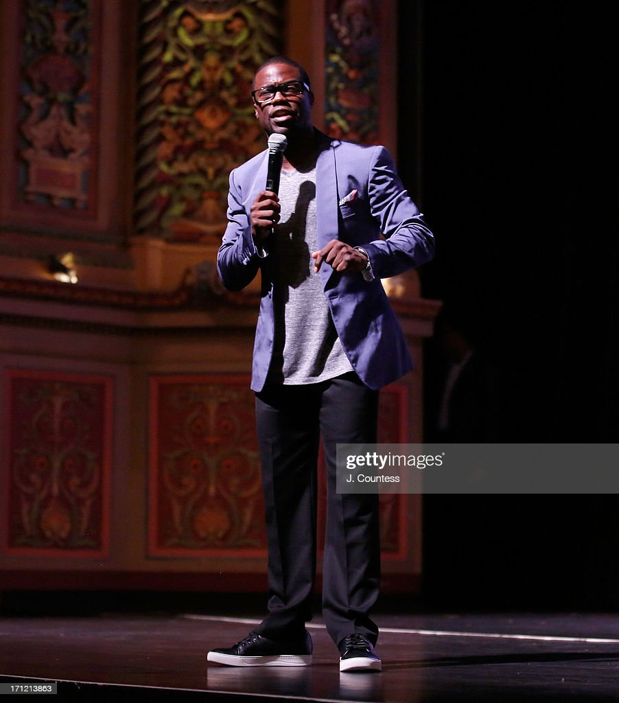 Comedian Kevin Hart speaks at the American Black Film Festival 2013 'Let Me Explain' Premiere at the Gusman Center for the Performing Arts on June 22...
