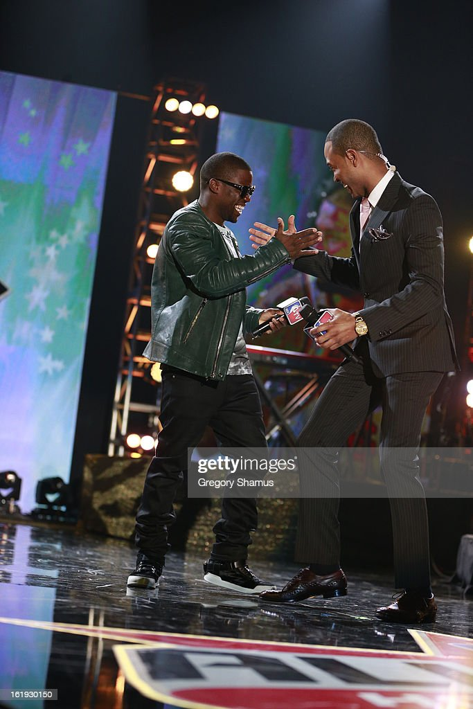 Comedian Kevin Hart talks with Television Personality Terrence Jenkins during the Sprint NBA All-Star Pregame Concert in Sprint Arena during the NBA All-Star Weekend on February 17, 2013 at the George R. Brown Convention Center in Houston, Texas.