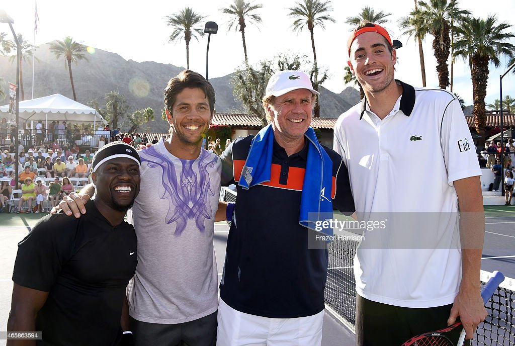 Comedian Kevin Hart tennis player Fernando Verdasco comedian Will Ferrell and tennis player John Isner attend the 11th Annual Desert Smash Hosted By...