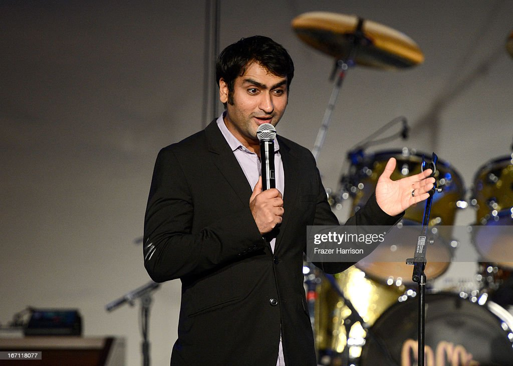 "Comedian <a gi-track='captionPersonalityLinkClicked' href=/galleries/search?phrase=Kumail+Nanjiani&family=editorial&specificpeople=5937944 ng-click='$event.stopPropagation()'>Kumail Nanjiani</a> performs at ""Yesssss!"" MOCA Gala 2013, Celebrating the Opening of the Exhibition Urs Fischer, at MOCA Grand Avenue and The Geffen Contemporary on April 20, 2013 in Los Angeles, California."