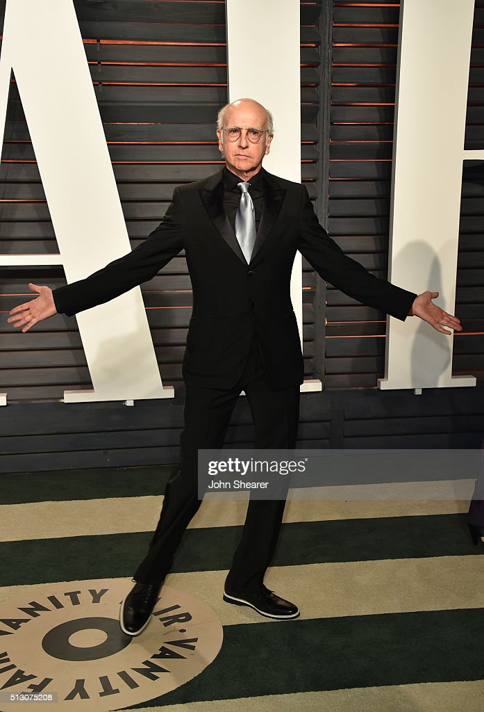 Comedian Larry David arrives at the 2016 Vanity Fair Oscar Party Hosted By Graydon Carter at Wallis Annenberg Center for the Performing Arts on February 28, 2016 in Beverly Hills, California.