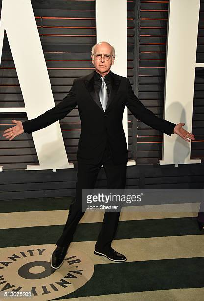 Comedian Larry David arrives at the 2016 Vanity Fair Oscar Party Hosted By Graydon Carter at Wallis Annenberg Center for the Performing Arts on...