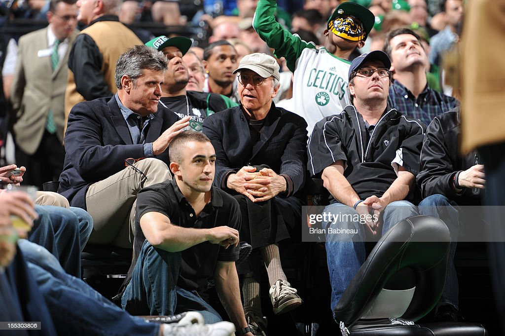 Comedian <a gi-track='captionPersonalityLinkClicked' href=/galleries/search?phrase=Larry+David&family=editorial&specificpeople=125184 ng-click='$event.stopPropagation()'>Larry David</a> during the game between the Boston Celtics and the Milwaukee Bucks on November 2, 2012 at the TD Garden in Boston, Massachusetts.
