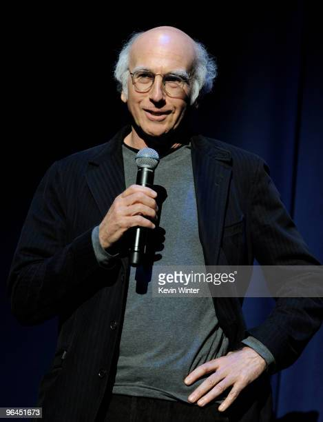 Comedian Larry David performs onstage at Help Haiti with George Lopez Friends at LA Live's Nokia Theater on February 4 2010 in Los Angeles California