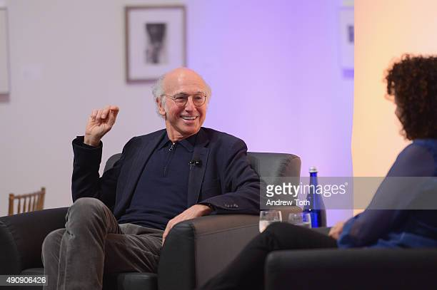 Comedian Larry David speaks on stage at the VIP Closing Dinner during Advertising Week 2015 AWXII at Sotheby's on October 1 2015 in New York City