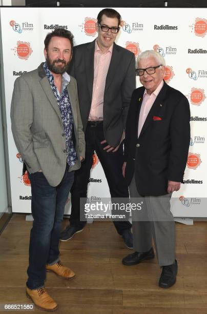 Comedian Lee Macktelevision presenter Richard Osman and writer Barry Cryer attend the BFI Radio Times TV Festival at BFI Southbank on April 9 2017 in...