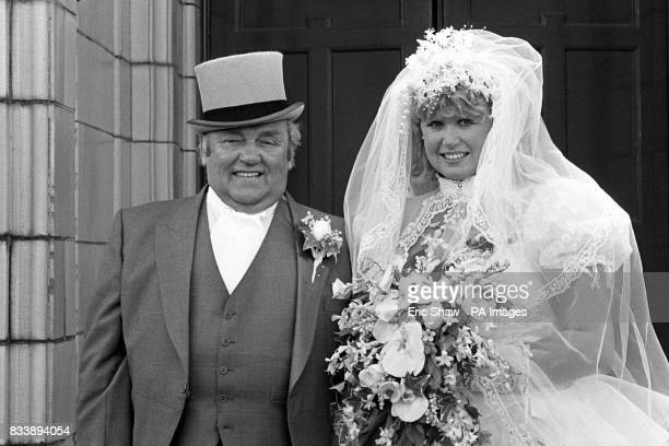 Comedian Les Dawson and his birthday girl bride former barmaid Tracey Roper after their wedding in Lytham St Annes in Lancashire