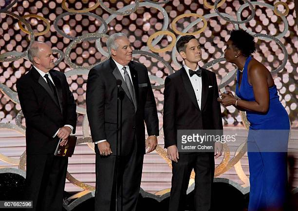 Comedian Leslie Jones and representatives of Ernst Young speak onstage during the 68th Annual Primetime Emmy Awards at Microsoft Theater on September...