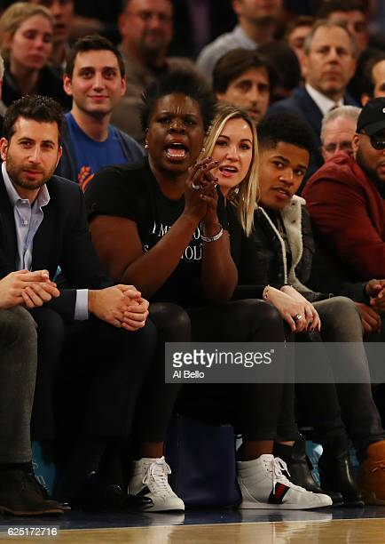 Comedian Leslie Jones cheers during the New York Knicks vs the Portland Trail Blazers during their game at Madison Square Garden on November 22 2016...