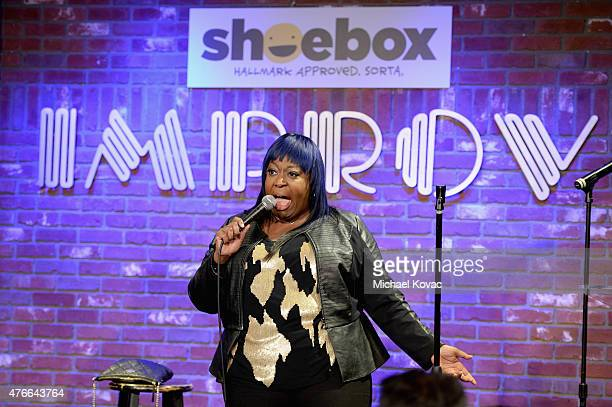 Comedian Loni Love performs onstage during Shoebox's 29th Birthday Celebration hosted by Rob Riggle at The Improv on June 10 2015 in Hollywood...