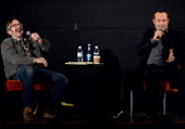 Comedian Marc Maron and Actor/Comedian Vince Vaughn podcast during the Bud Light Presents Wild West Comedy Festival Marc Maron WTF Podcast With Vince...