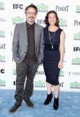 Comedian Marc Maron and Actress Moon Zappa attend the 2014 Film Independent Spirit Awards at Santa Monica Beach on March 1 2014 in Santa Monica...