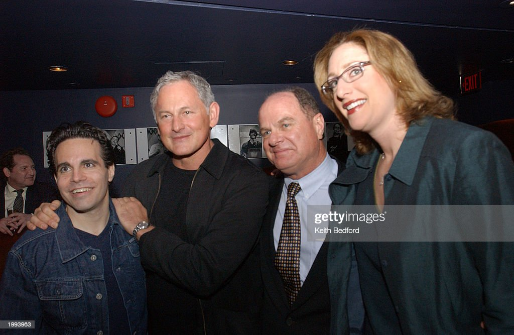 Comedian Mario Cantone left actor Victor Garber second from the left John Harsbury and comdeian Joy Gold right pose for a picture before the start of...