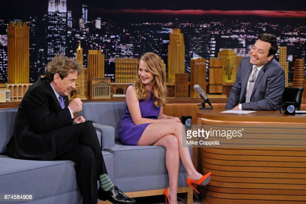 Comedian Martin Short and Britt Robertson speak to host Jimmy Fallon as they visit 'The Tonight Show Starring Jimmy Fallon' at Rockefeller Center on...