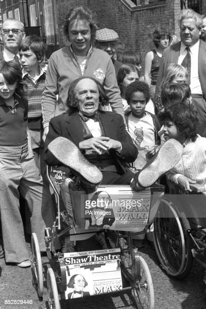 Comedian Max Wall is pushed around in a pram by actor Jonathan Coy They formed one of the teams entered by the Shaw Theatre in a PramPub Race part of...