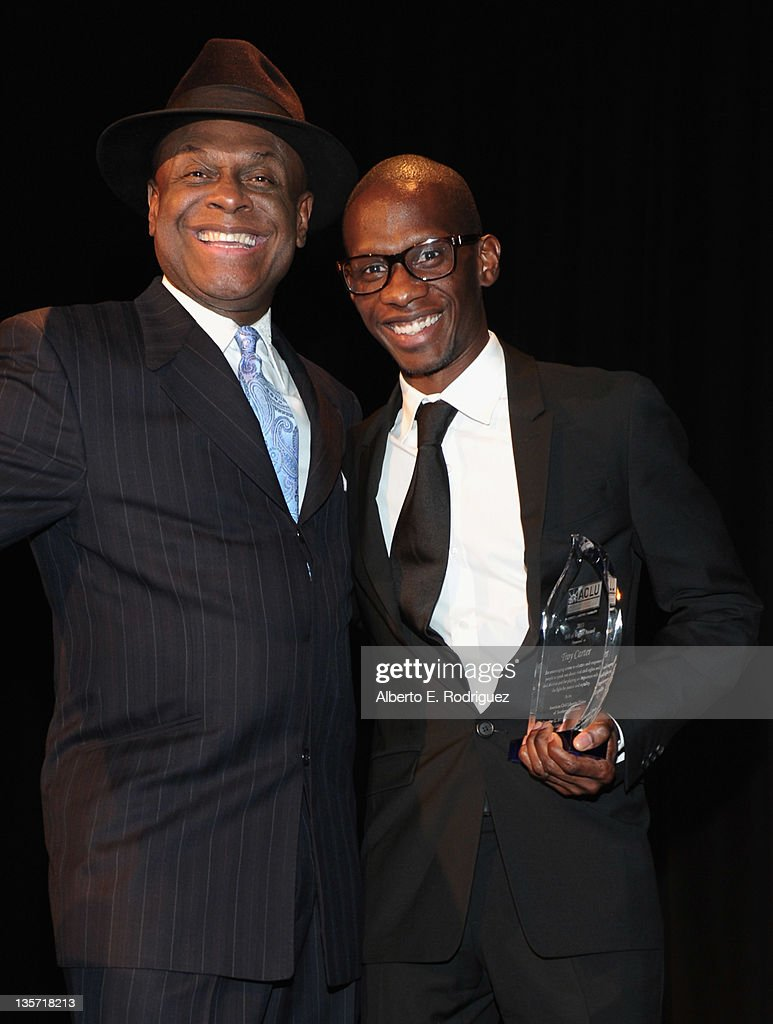 Comedian Michael Colyar and Music Manager Troy Carter attends The ACLU of Southern California's 2011 Bill of Rights Dinner at the Beverly Wilshire Four Seasons Hotel on December 12, 2011 in Beverly Hills, California.