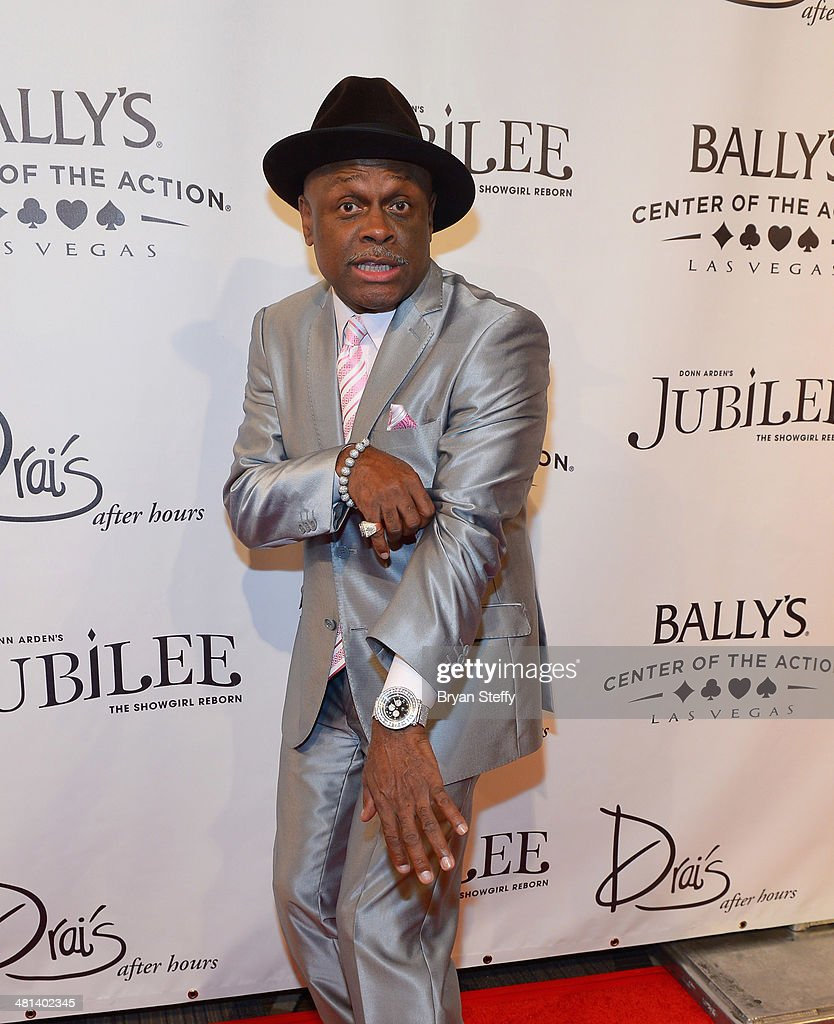 Comedian <a gi-track='captionPersonalityLinkClicked' href=/galleries/search?phrase=Michael+Colyar&family=editorial&specificpeople=778797 ng-click='$event.stopPropagation()'>Michael Colyar</a> arrives at the 'Jubilee!' show's grand reopening at Ballys Las Vegas on March 29, 2014 in Las Vegas, Nevada.