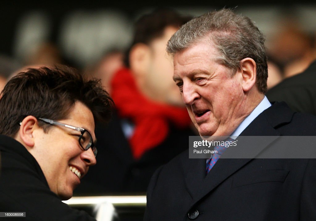Comedian Michael McIntyre meets England Manager Roy Hodgson prior to kickoff during the Barclays Premier League match between Tottenham Hotspur and Arsenal FC at White Hart Lane on March 3, 2013 in London, England.