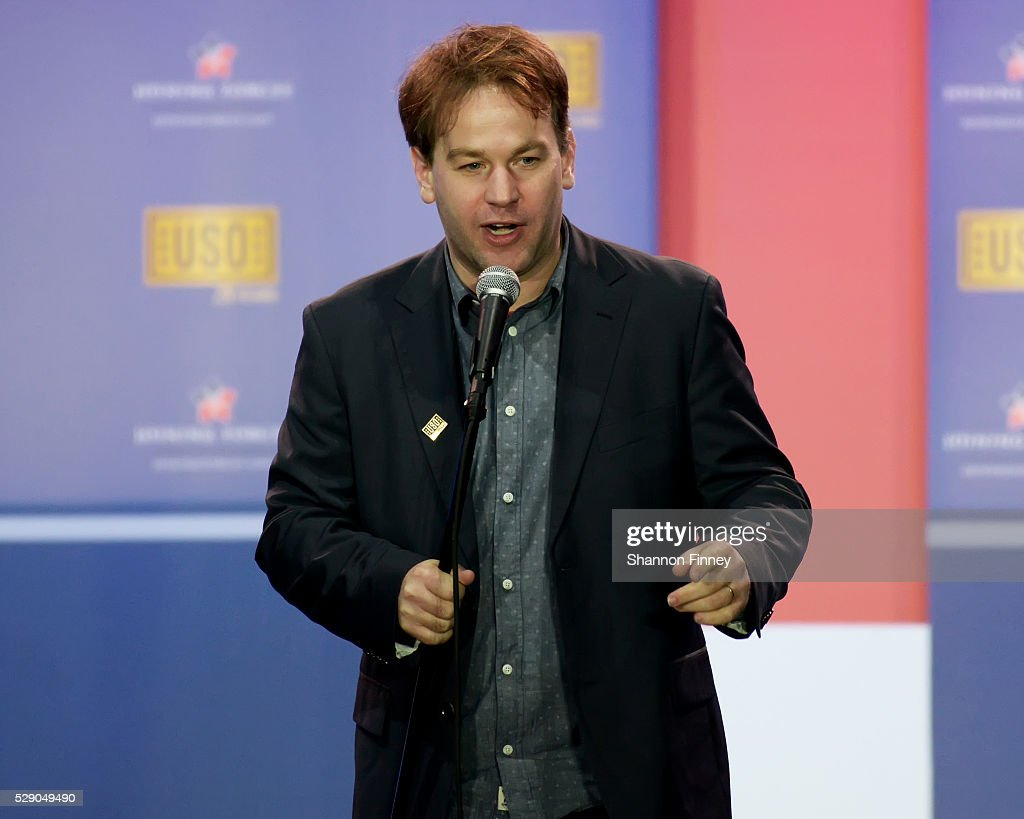 Comedian Mike Birbiglia performs at the 75th Anniversary USO Show on May 5 2016 at Joint Base Andrews in Camp Springs Maryland