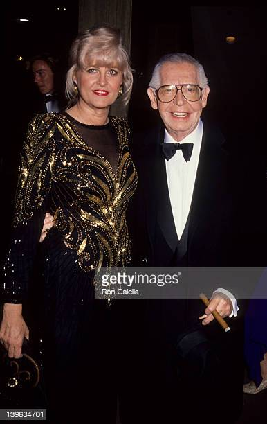 Comedian Milton Berle and wife Lorna Adams attending 'Thalians Ball' on October 26 1991 at the Century Plaza Hotel in Century City California