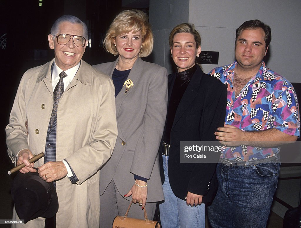Comedian Milton Berle, wife Lorna Adams, son and daughter attending 'Bob Hope Special' on March 1, 1992 at NBC Studios in Burbank, California.
