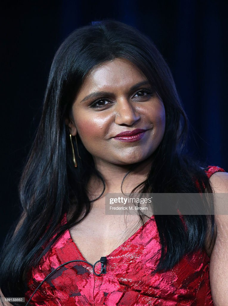 Comedian <a gi-track='captionPersonalityLinkClicked' href=/galleries/search?phrase=Mindy+Kaling&family=editorial&specificpeople=743884 ng-click='$event.stopPropagation()'>Mindy Kaling</a> of 'The Mindy Project' speaks onstage during the FOX portion of the 2013 Winter TCA Tour at Langham Hotel on January 8, 2013 in Pasadena, California.