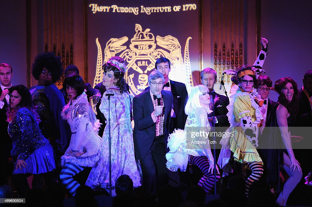 Comedian Mo Rocca performs on stage during The Hasty Pudding Institute of 1770 Order of the Golden Sphinx Gala 2015 at The Plaza Hotel on April 13...