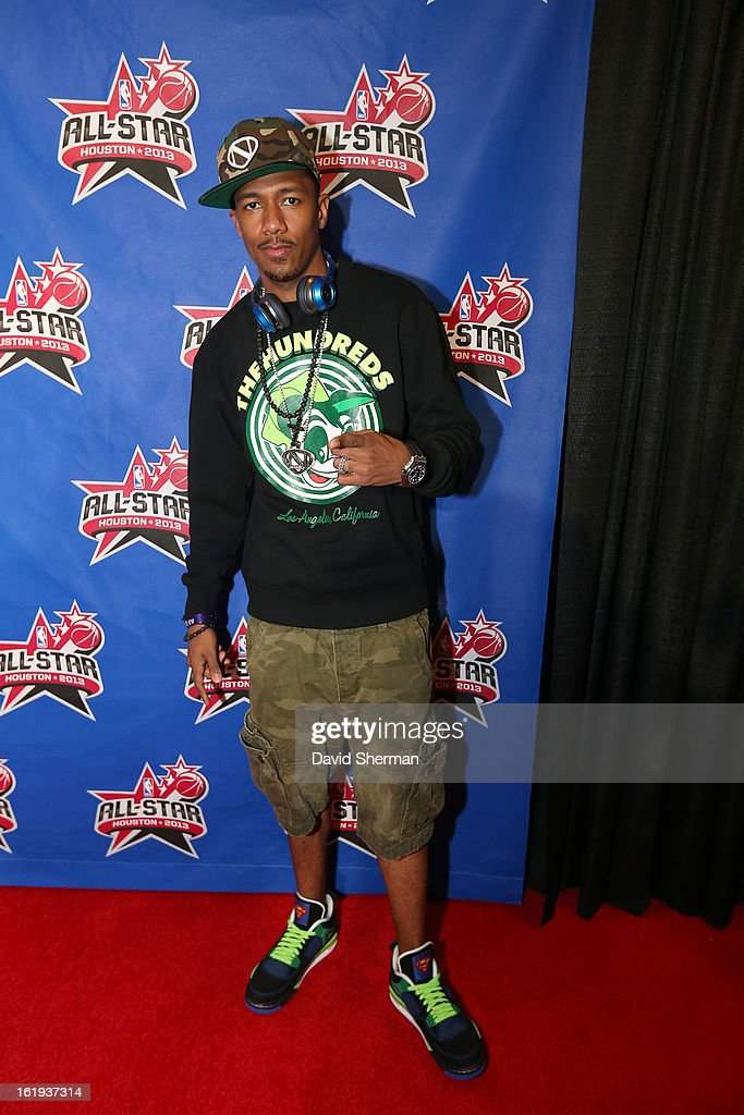 Comedian Nick Cannon poses on the All-Star Red Carpet prior to the 2013 NBA All-Star Game presented by Kia Motors on February 17, 2013 at the Toyota Center in Houston, Texas.