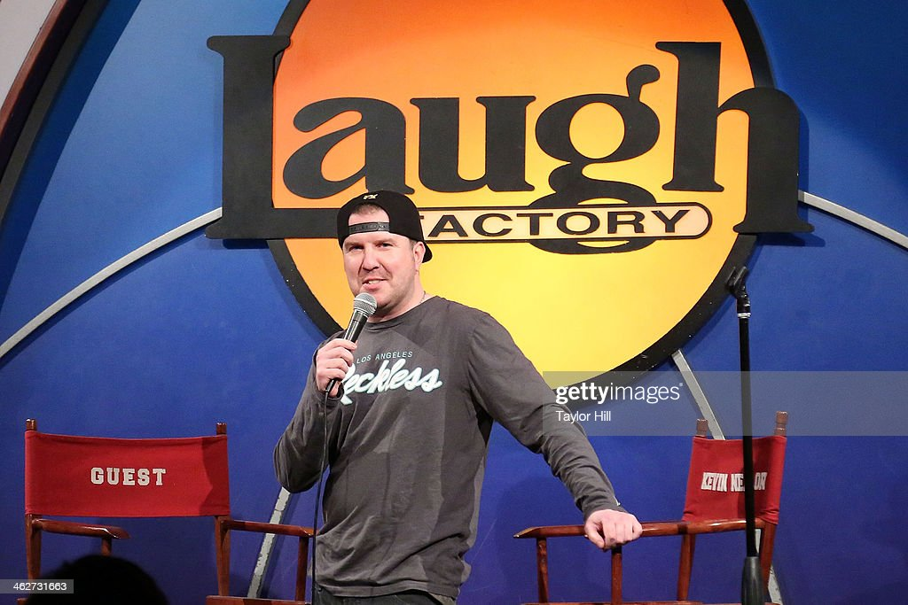 Comedian <a gi-track='captionPersonalityLinkClicked' href=/galleries/search?phrase=Nick+Swardson&family=editorial&specificpeople=707436 ng-click='$event.stopPropagation()'>Nick Swardson</a> performs during 'New Material Night with Kevin Nealon' at Laugh Factory on January 14, 2014 in West Hollywood, California.