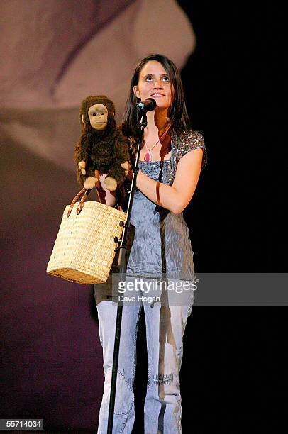 Comedian Nina Conti performs on stage with 'Monkey' at the rehearsals for the second annual 'ASDA's Tickled Pink' charity concert raising funds for...