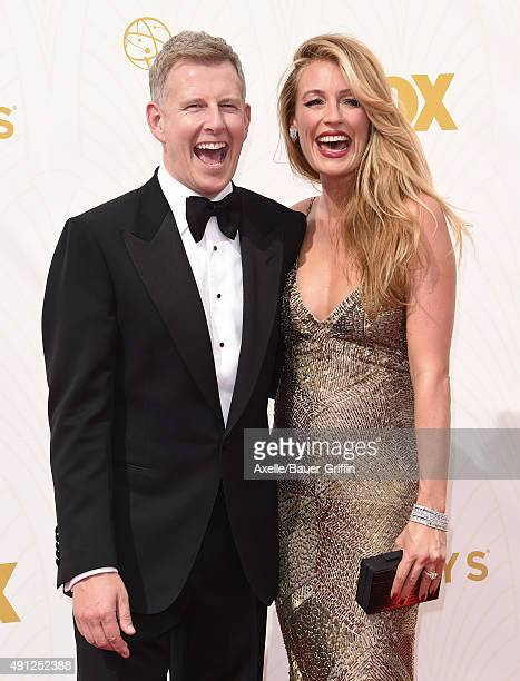 Comedian Patrick Kielty and TV personality Cat Deeley arrive at the 67th Annual Primetime Emmy Awards at Microsoft Theater on September 20 2015 in...