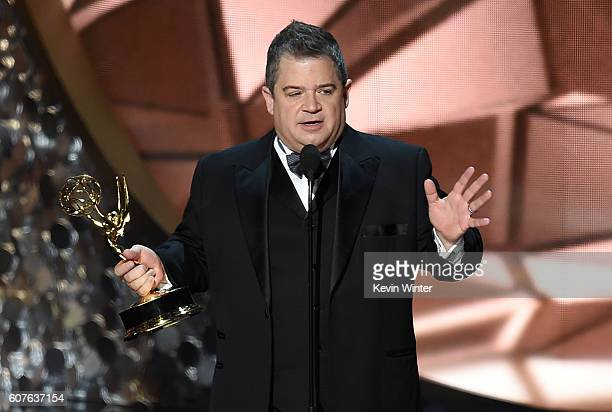 Comedian Patton Oswalt accepts Outstanding Writing for a Variety Special for 'Patton Oswalt Talking for Clapping' onstage during the 68th Annual...
