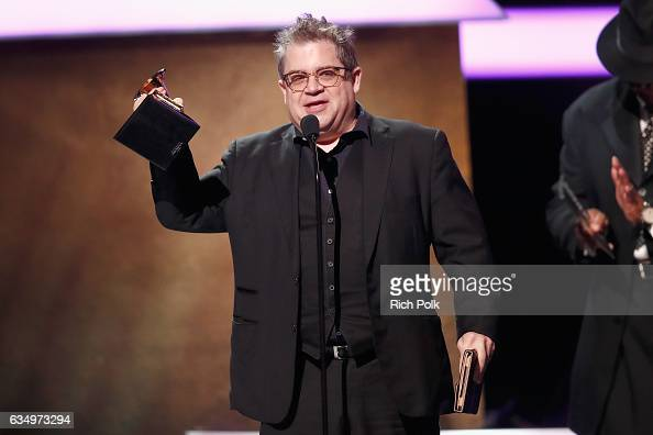 Comedian Patton Oswalt accepts the Best Comedy Album award for 'Talking for Clapping' onstage at the Premiere Ceremony during the 59th GRAMMY Awards...