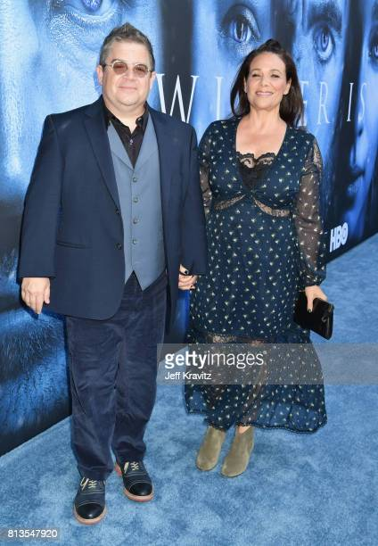 Comedian Patton Oswalt and actor Meredith Salenger at the Los Angeles Premiere for the seventh season of HBO's 'Game Of Thrones' at Walt Disney...