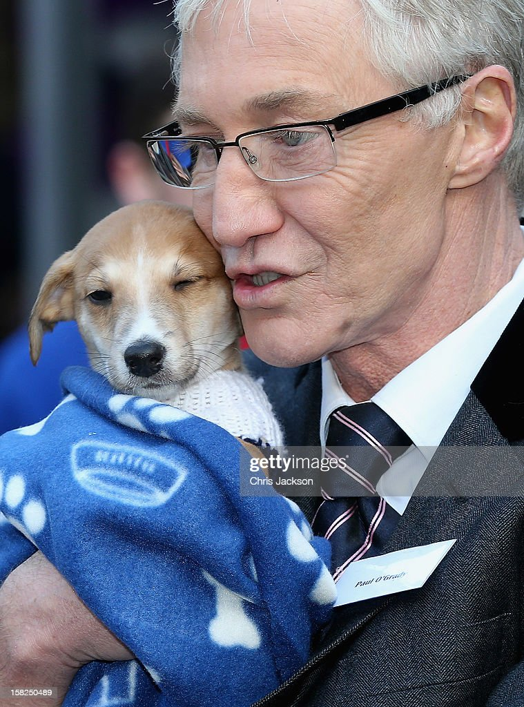 Comedian Paul O'Grady hugs a lurcher-cross puppy called 'Mince Pie' as she visits Battersea Dog and Cats Home on December 12, 2012 in London, England. Duchess of Cornwall as patron of Battersea Dog and Cats home visited with her two Jack Russell terriers Beth, a 3 month old who came to Battersea as an unwanted puppy in August 2011 and Bluebell a nine week old stray who was found wandering in a London Park in September 2012.