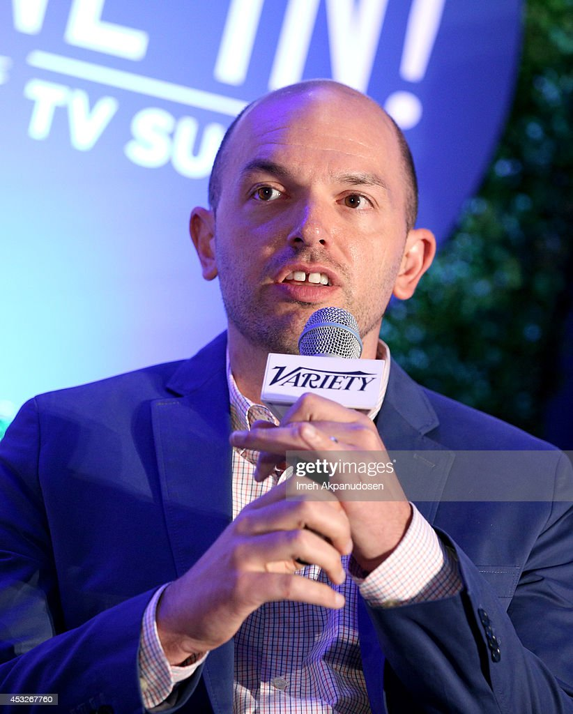 Comedian <a gi-track='captionPersonalityLinkClicked' href=/galleries/search?phrase=Paul+Scheer&family=editorial&specificpeople=805513 ng-click='$event.stopPropagation()'>Paul Scheer</a> speaks onstage at the 'TV's Creative Trailblazers' panel during Tune In! Variety's TV Summit at Intercontinental Century City on August 6, 2014 in Century City, California.